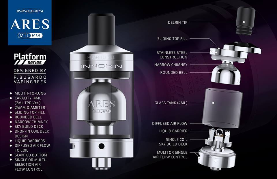 Ares MTL RTA 24mm by Innokin vapexperts 2