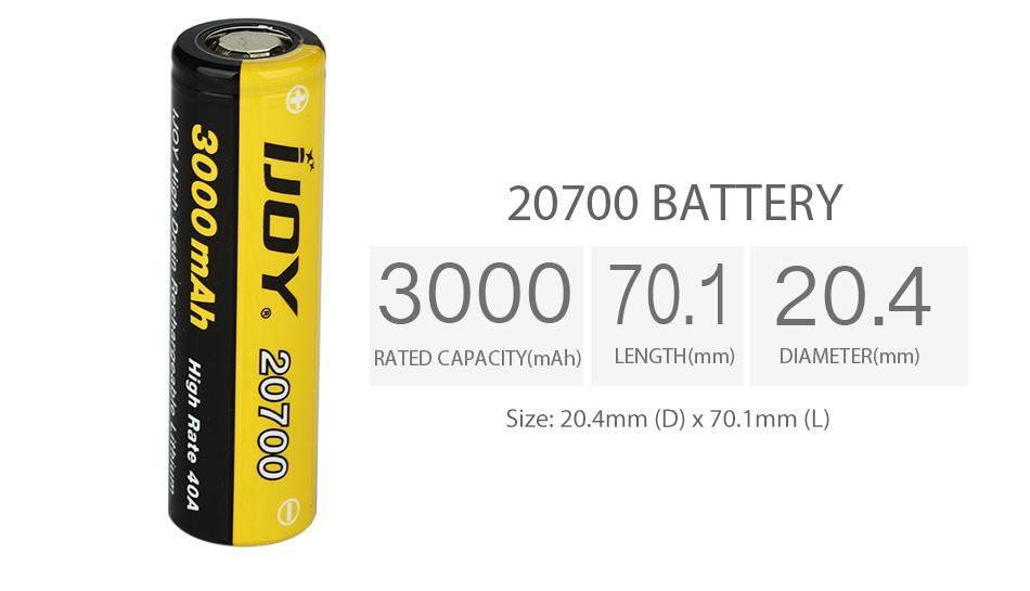 3000mAh IJOY 20700 High Drain Rechargeable Battery 40A battery vapexperts 2
